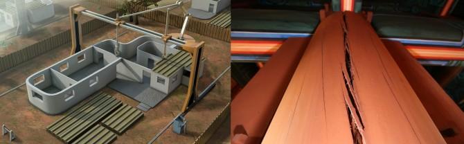 문명운 한국과학기술연구원(KIST) 책임연구원은 흙이나 아교 등 전통 건축 소재를 이용해 한옥 전체를 3D 프린터로 짓는 기술을 개발 중이다(왼쪽). 2014년 숭례문 복구 과정에서 충분히 건조되지 않은 목재를 사용한 탓에 균열이 생긴 기둥(오른쪽). 이윤우 서울대 교수팀은 초임계 기술을 이용해 목재에 손상을 입히지 않으면서도 빨리 말릴 수 있는 방법을 고안 중이다.  - 한국과학기술연구원(KIST) 제공